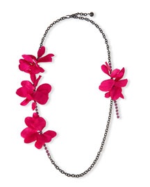 Long Crystal Chain Flower Necklace, Fuchsia, 42.5