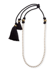 Long Pearly Necklace with Tassel Ends, 39.5