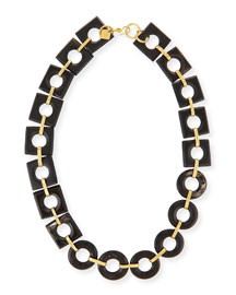 Mbele Dark Horn Geometric Link Necklace