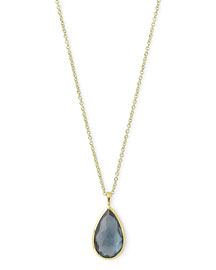 18k Rock Candy?? Teardrop Pendant Necklace, Blue