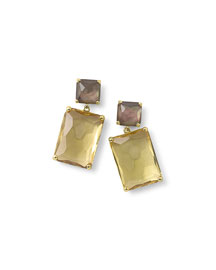 18k Rock Candy� Snowman Double-Drop Earrings in Citrine/Shell