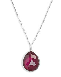 Large Teardrop Doublet Pendant Necklace, Cherry