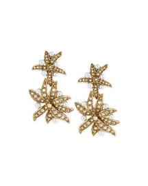Pearly Flower Double-Drop Clip Earrings