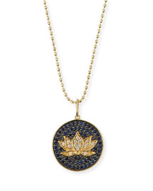 Medium Pav?? Blue Sapphire & Diamond Lotus Necklace