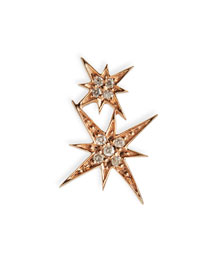 14K Rose Gold Diamond Double Starburst Earring