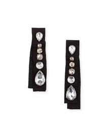Crystal-Embellished Grosgrain Clip-On Earrings
