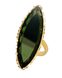 14K Midnight Marquise Ring, Dark Green