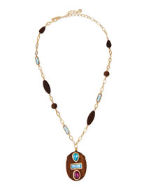 Wooden Swarovski� Crystal Pendant Necklace