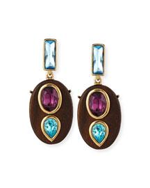 Wood Crystal Oval Earrings