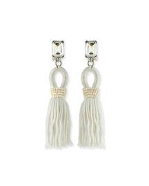 Short Swarovski?? Crystal Loop Tassel Earrings