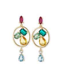 Multicolor Swarovski� Crystal Drop Clip Earrings