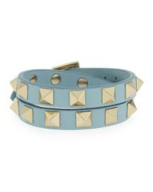 Rockstud Double-Wrap Leather Bracelet