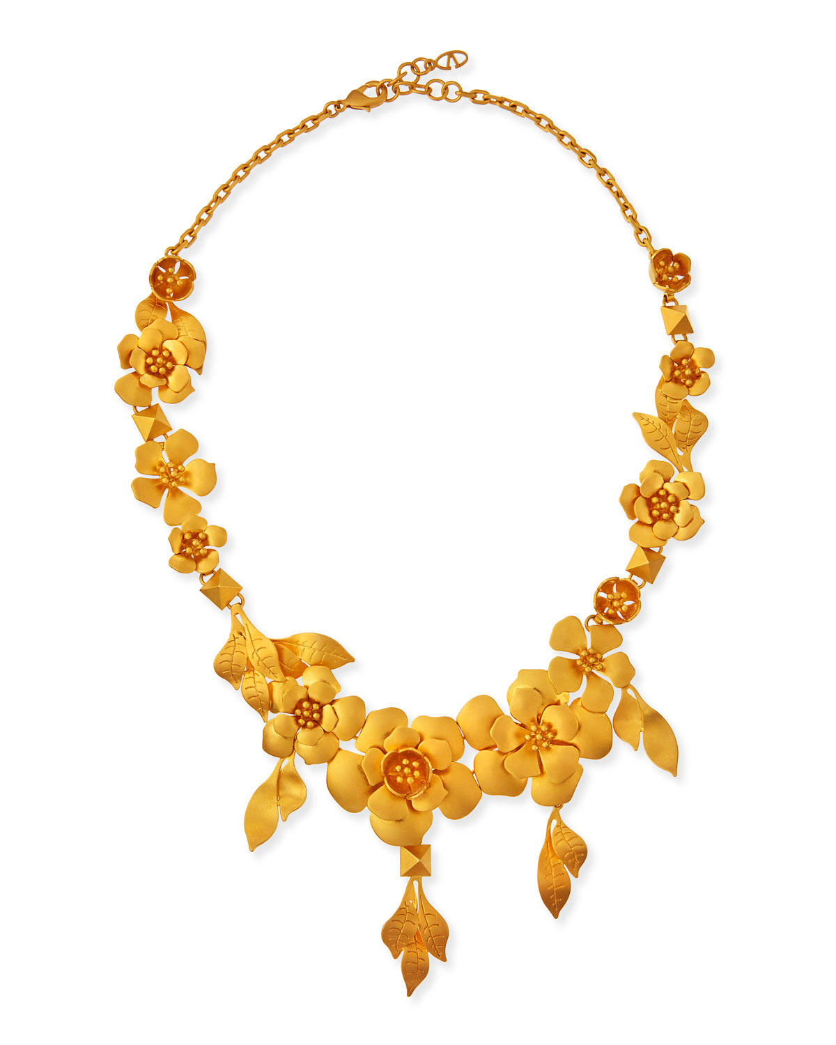 Valentino Golden Garden Party Statement Necklace, GOLD