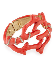 Crystal Coral Cuff Bracelet, Persimmon