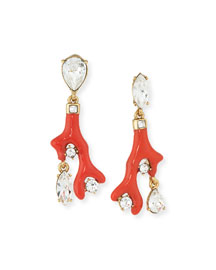 Crystal Coral Drop Clip-On Earrings, Persimmon