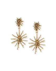 Golden Starfish Clip-On Drop Earrings