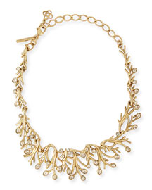 Golden Seaweed Crystal Necklace