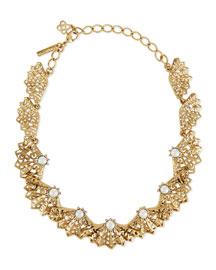 Pearly Filigree Fan Necklace