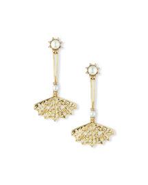 Pearly Filigree Fan Drop Earrings