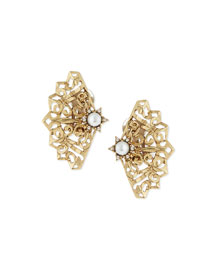 Simulated-Pearl Filigree Fan Clip Earrings