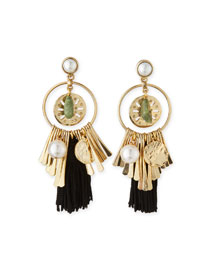Pearly Tassel Charm Earrings, Black