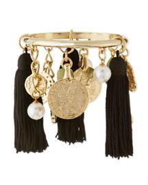 10K Tassel Charm Bracelet, Black