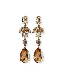Bold Crystal Teardrop Clip-On Earrings, Golden