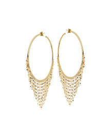 Large 14K Fringe Hoop Earrings
