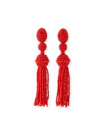 Long Beaded Tassel Clip-On Earrings