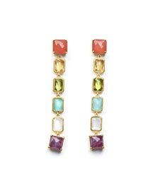 18K Rock Candy Extra-Long 6-Stone Earrings in Summer Rainbow
