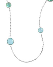Sterling Silver Lollipop Station Necklace in Blue Star, 40