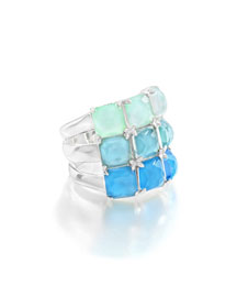 Rock Candy Three-Row Wide Colorblock Ring in Blue Star, Size 7