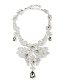 Crystal Lace Statement Necklace, Black