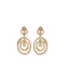 Double Loop Crystal Drop Earrings