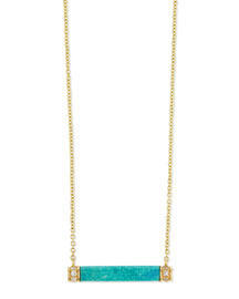 Turquoise Bar Necklace with Diamond Trim