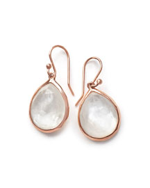 Wonderland Ros� Teardrop Earrings in Quartz Doublet