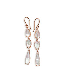 Wonderland Ros� Three-Stone Drop Earrings in Quartz Doublet