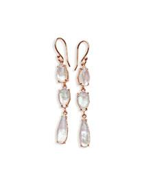 Wonderland Ros� Three-Stone Drop Earrings in Quartz Doublet