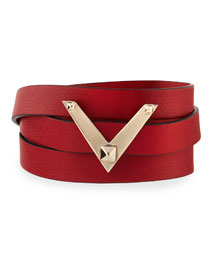 Viva V Leather Wrap Bracelet