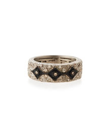 New World Midnight Crivelli Ring with Diamonds, Size 6.5