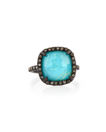 Old World Midnight Cushion Doublet Ring with Diamonds