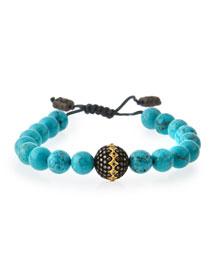 Old World Midnight Magnesite Bead Bracelet with Diamond Ball