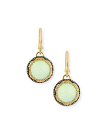Old World Midnight Scalloped Chalcedony Drop Earrings