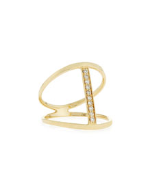Split Pav� Diamond Bar Ring
