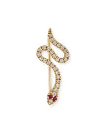 Pav� Diamond & Ruby Snake Wire Earring