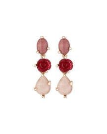 Resin Rose & Crystal Triple-Drop Earrings