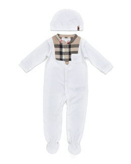 Burberry Bodysuit and Cap Set