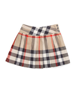 Burberry Side-Button Check Kilt, Sizes 7-10