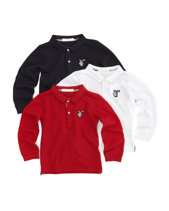 Long-Sleeve Polo, White