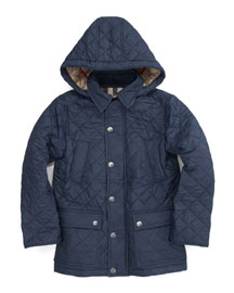Charlie Hooded Quilted Jacket, Navy